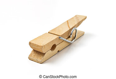 Clothes Peg - Wooden sprung Clothes Peg from low perspective...