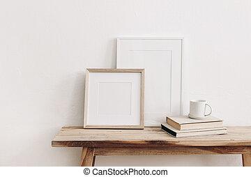 Wooden square and white portrait frame mockups on vintage ...