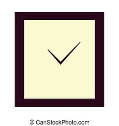 wooden square clock on white background