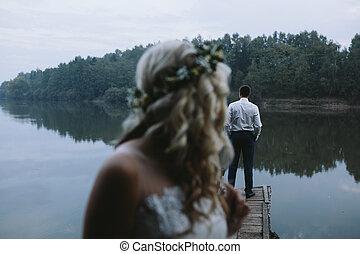 wooden stég, párosít, öreg, esküvő