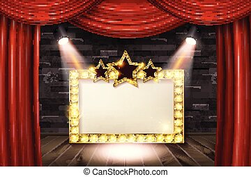 Wooden stage with red curtain and white brick wall and gold...