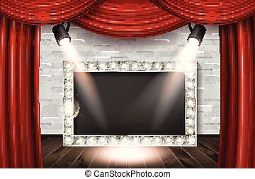 Wooden stage with red curtain