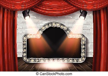 Wooden stage with red curtain and white brick wall and...