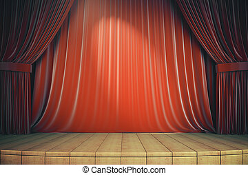 Wooden stage with red curtains