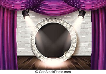 Wooden stage with violet curtain and white brick wall and...