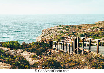 Wooden Stair Leading To Beautiful Beach With Turquoise Water In Algarve, Portugal