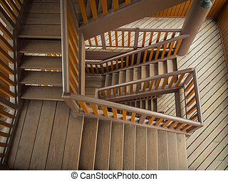 Wooden staircase in building
