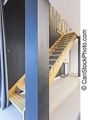 Wooden staircase in house - Wooden staircase in modern house...