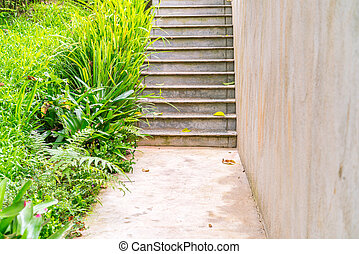 Wooden staircase in park .