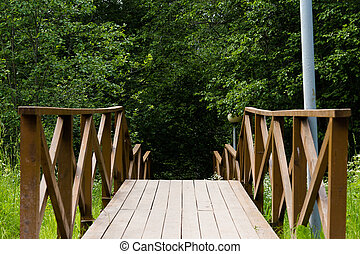 Wooden staircase in the park