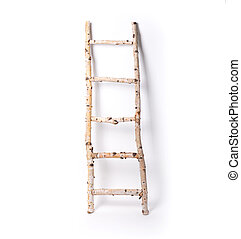 Wooden staircase made of aspen on a white isolated background.