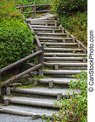 Wooden staircase to mountian