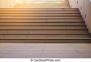 wooden staircase with sunlight, goal business concept