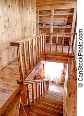 Wooden stairs and walls in the house