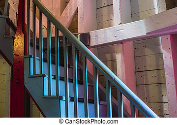 wooden stairs in a lighthouse