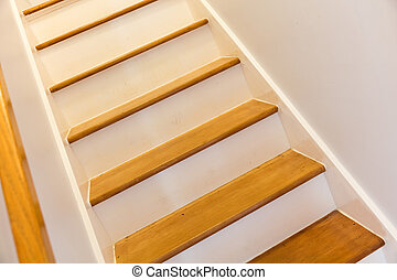 Wooden stairs in house