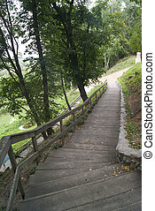 wooden stairs in Liubech, Ukraine, next to the caves