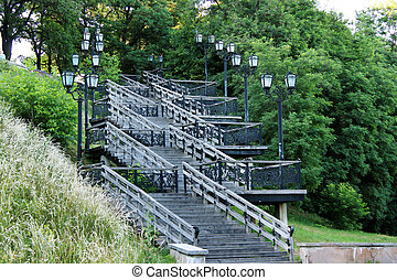 wooden stairs in the city park