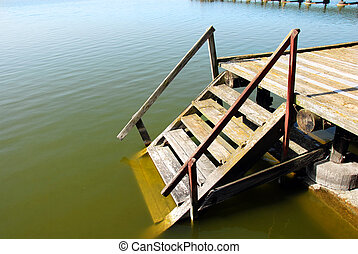 Wooden stairs into water