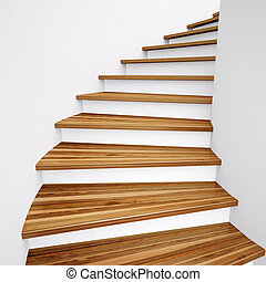 Wooden Stairs and white wall leading up