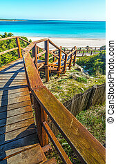 wooden stairs to the beach