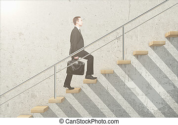 Wooden stairs with businessman