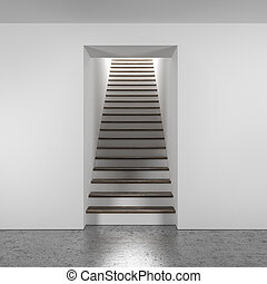 wooden stairway isolated on a white background