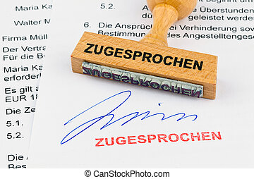 wooden stamp on the document: awarded