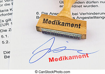wooden stamp on the document: drug