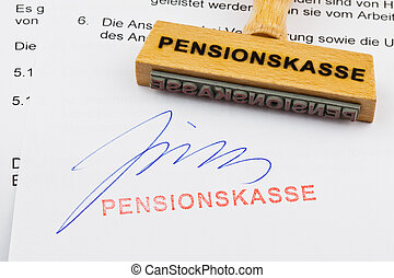 wooden stamp on the document: pension fund