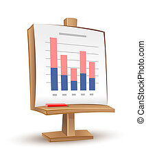 wooden stand with analytics graph report - vector...