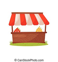Wooden stand with organic farm food, apples and pears. Market stall with striped awning. Cartoon vector design