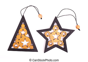 Wooden star and Christmas tree toy isolate