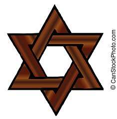 Wooden Star of David - A star of david made from timber over...