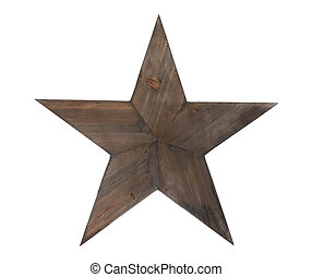 Wooden star with clipping path