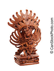 Wooden statue of the Hindu god on the white background