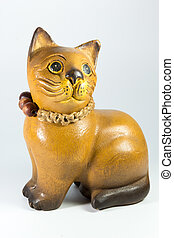 wooden statuette of a cat on white background