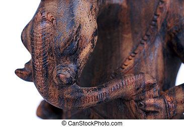 wooden statuette of hindu god ganesh