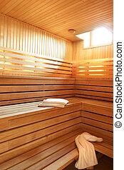 Wooden steam room sauna in hotel