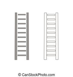 Wooden step ladder it is the grey set icon .