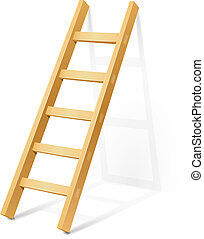 wooden step ladder vector illustration isolated on white...