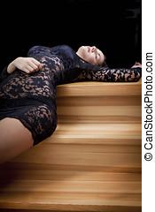 Wooden steps model