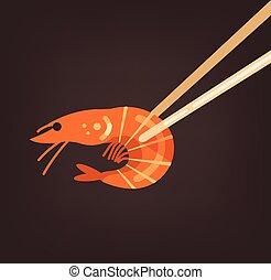 Wooden stick holding red fresh shrimp. Sea food market element concept. Vector flat cartoon isolated illustration