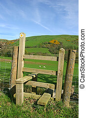 Wooden Stile - Wooden stile with countryside to the rear,...