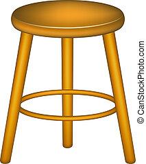 Wooden stool in retro design on white background