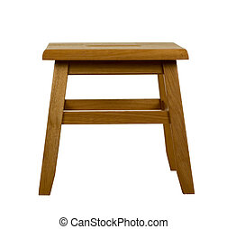 Wooden Stool, Isolated, clipping path included