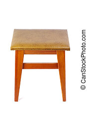 Wooden stool isolated on white background