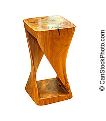 Wooden stool isolated with clipping path included