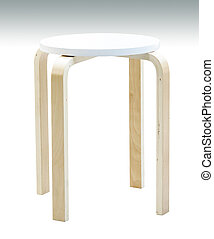 Wooden stool isolated with clipping path