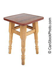 Wooden stool on a white background